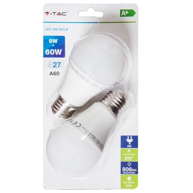 E27 LED Birne 2erPaket Lampe 9W 4000K 806lm entspricht 60W A60