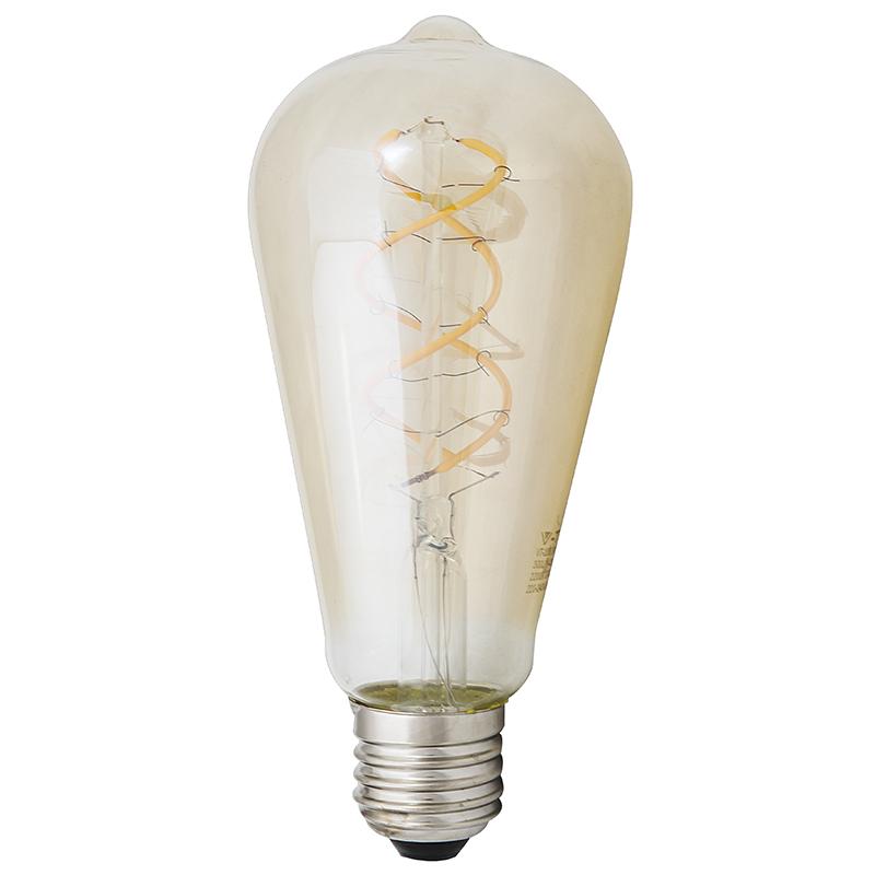 LED Leuchtbirne E27 5W ST64 2200K Vintage Curve Filament Amber